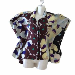 DVF MOD Silk Vintage Blouse Top Square large Sleeve Butterfly *see video